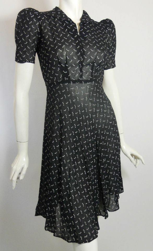 late 1930s dress of semi sheer rayon style