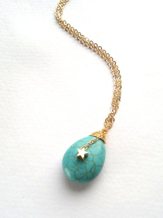 turquoise teardrop necklace with a turquoise