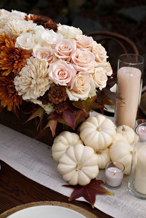 White Pumpkin Caramel Wedding Centerpiece