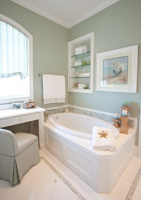 Favorite paint colors filmy green for Green bathroom paint colors