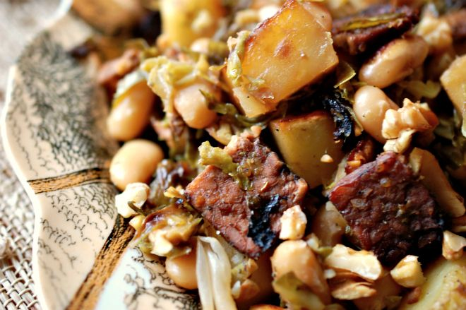 ... Hash with Brussels, Bac'n, Rosemary, & White Beans Recipe (vegan