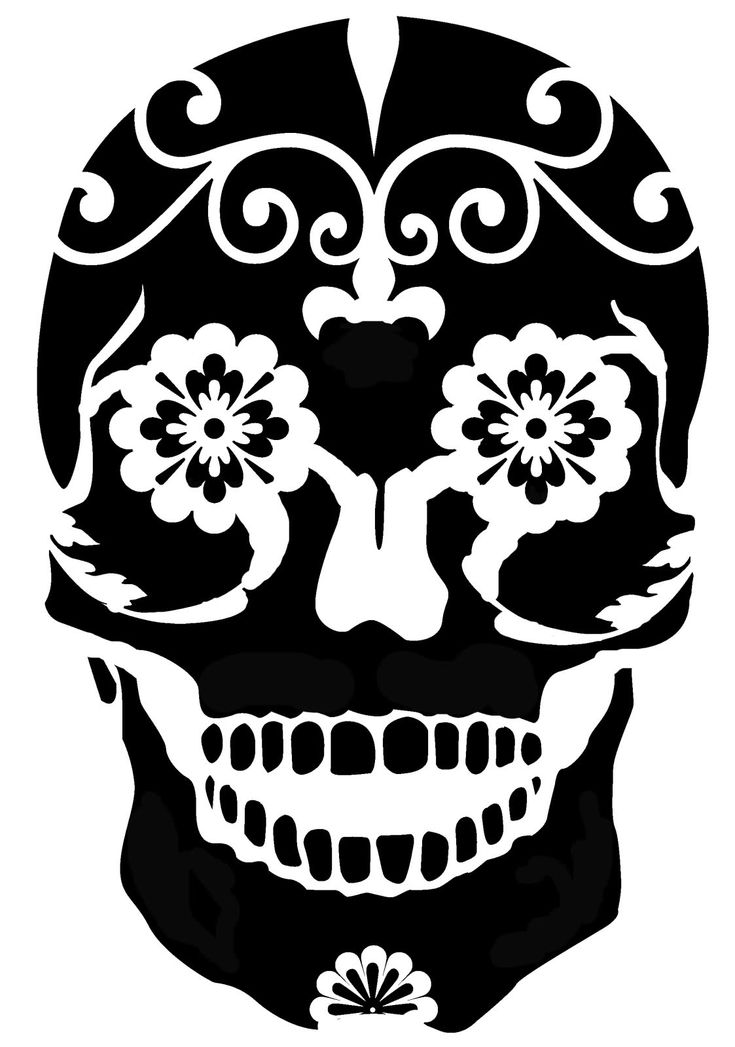 Sugar skull stencil for freezer paper or silhouette for Pumpkin carving silhouettes