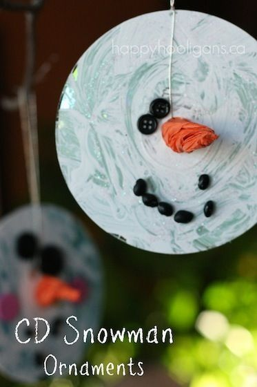 CD Snowman Ornaments - happy hooligans - Christmas crafts for kids