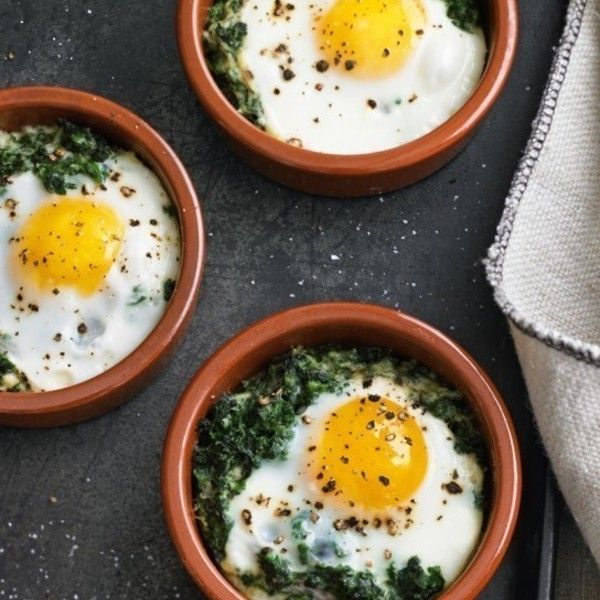 Baked Eggs with Spinach & Cream | Food | Pinterest