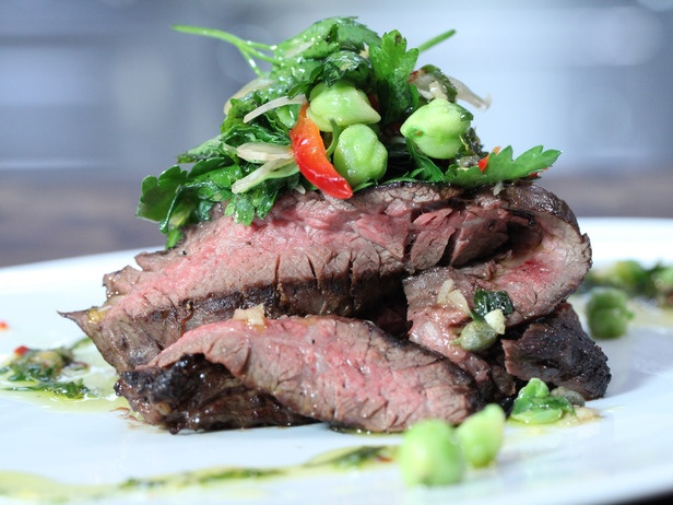 Grilled Skirt Steak with Salsa Verde and Fresh Chick Pea Salad from ...