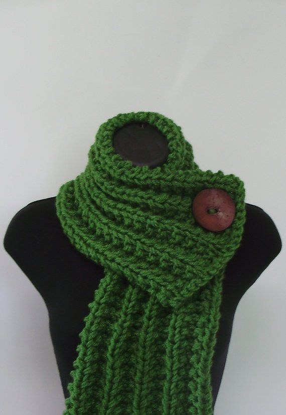 Knit Scarf Pattern With Button Hole : RESERVED - Kelly Green Chunky Knit Cowl Scarf with Large Brown Button