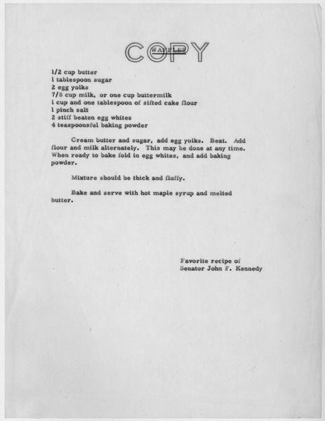 President Kennedy's Favorite Waffle Recipe | Food | Pinterest