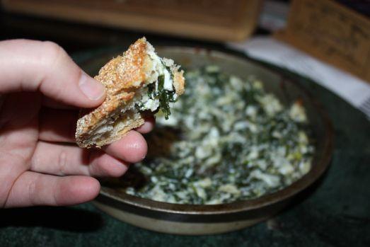 Rosemary-Lemon No-Knead Bread with Baked Spinach Artichoke Yogurt Dip