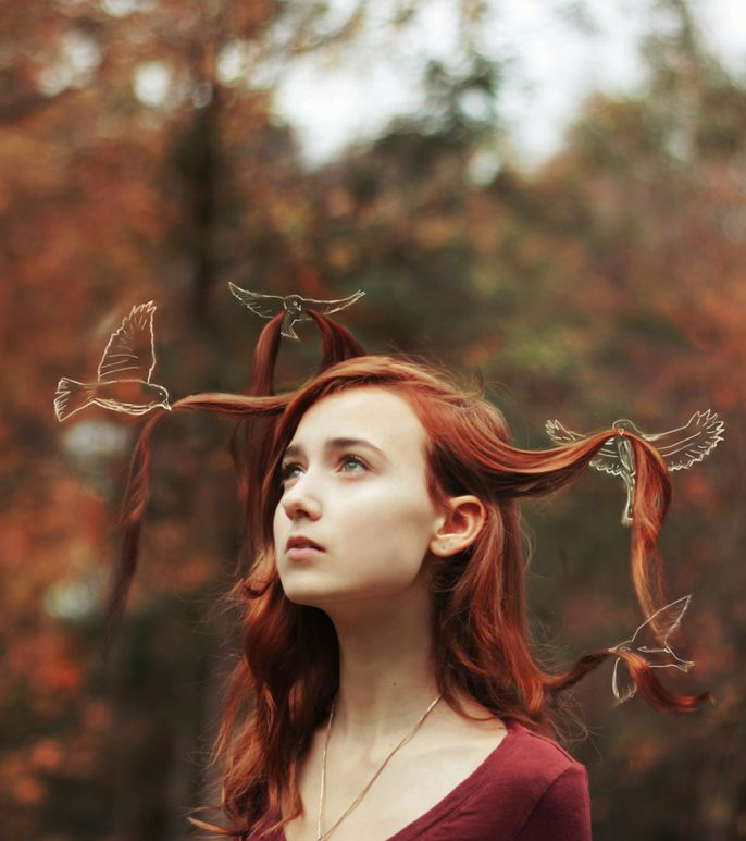 I like the combination of drawing and photography. Reminds me a little of the fairy tale 'The Wild Swans'.