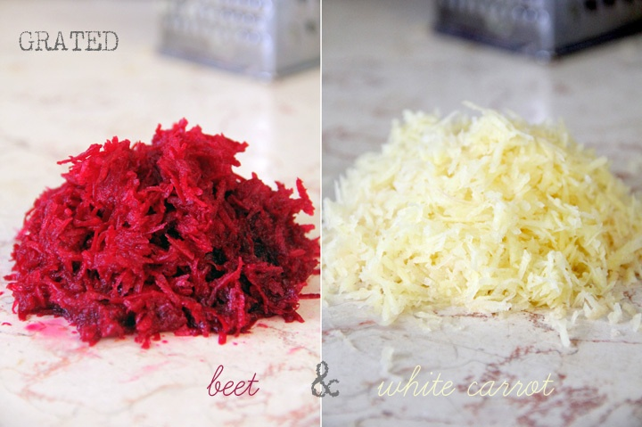 grated beet root and white carrot-- ingredients for Latkes