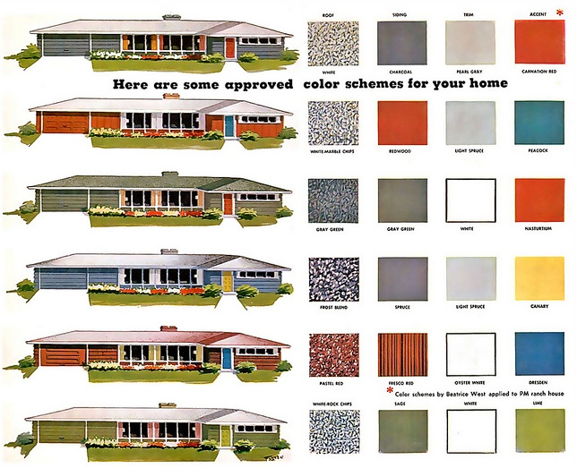 A midcentury ranch color recommendation chart.