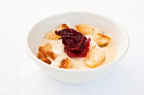 Roasted Cauliflower Soup with Homemade Croutons