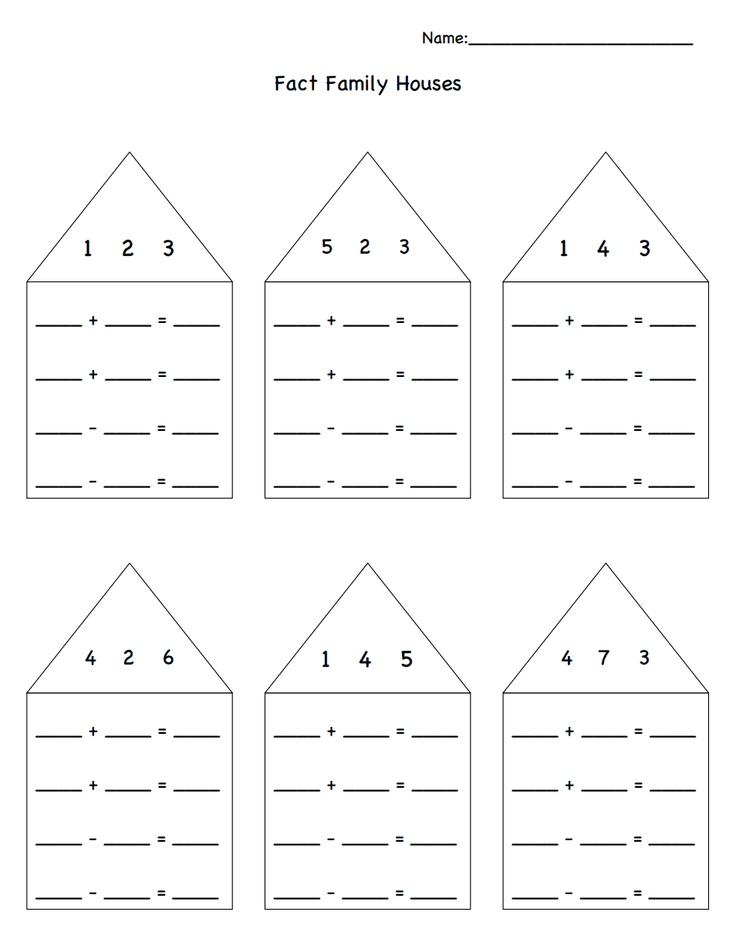 Fact Family Houses.pdf : Math : Pinterest