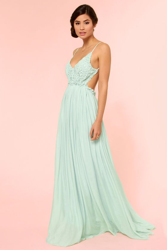 Blooming Prairie Crocheted Mint Maxi Dress at LuLus.com! This dress ...