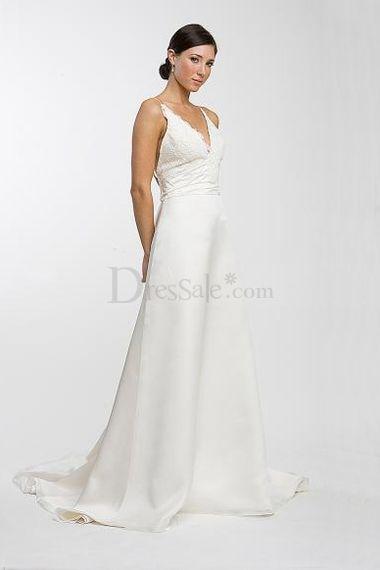 Simple spaghetti strap wedding dress wedding dresses for Spaghetti strap wedding dress with pockets