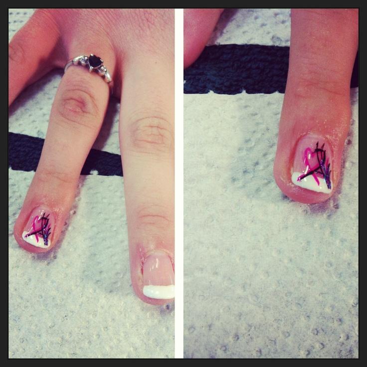 French shellac with heart nail art | shellac nails | Pinterest