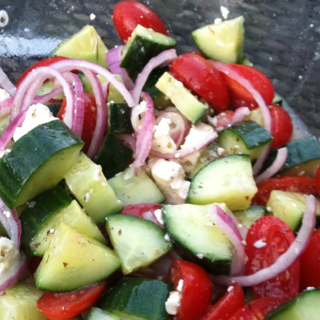 Simple summer salad! Cucumber,tomato,feta,red onion and Greek dressing ...
