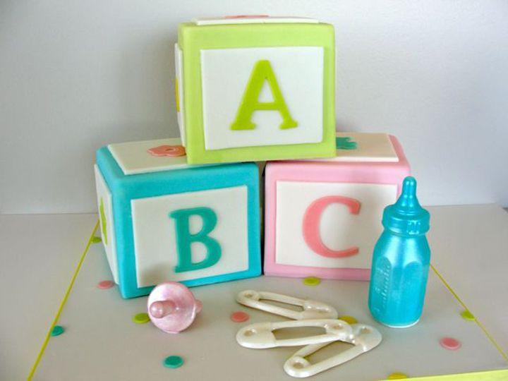 alphabet block cakes
