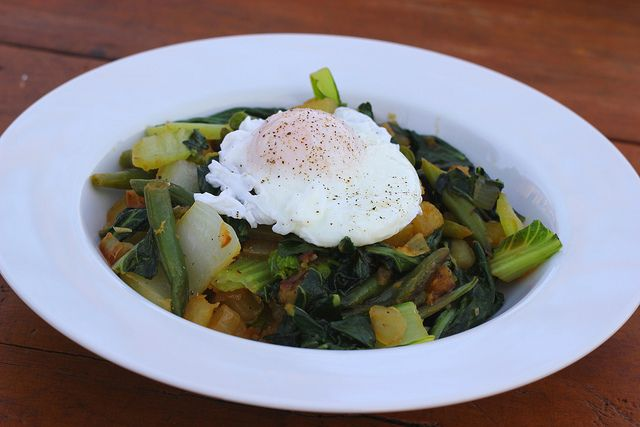 Bok Choy Hash with Poached Eggs - meatless, weeknight dinner. # ...