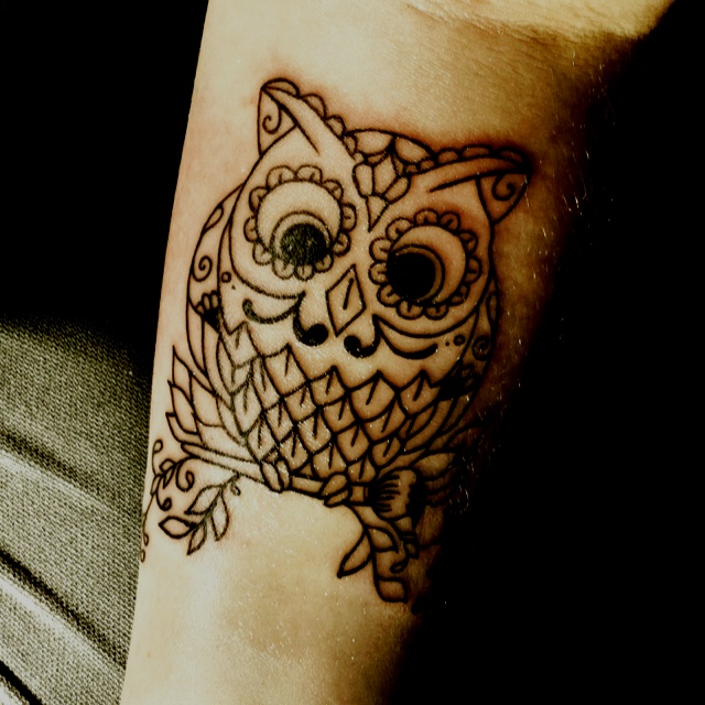 Little owl outline tattoo - photo#7