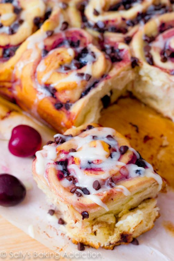 Chocolate Chip Cherry Sweet Rolls. by Sally's Baking Addiction