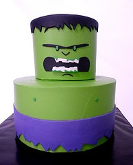 Hulk cake, iced in buttercream, fondant accents