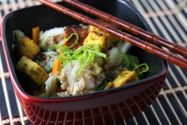 Baked Pineapple Curry Tofu with Fried Basmati Rice and Veggies - Vegan