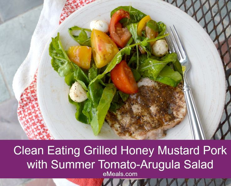 Grilled Honey Mustard Pork Cutlets with Summer Tomato-Arugala Salad ...