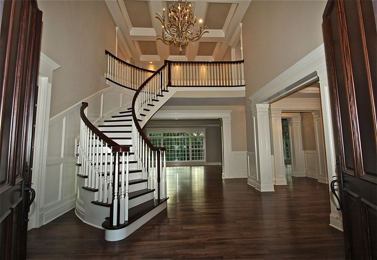 Open foyer with curved staircase for the home pinterest for Foyer staircase ideas