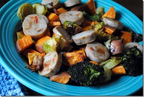 Chicken sausages with roasted sweet potatoes, brussels sprouts and ...