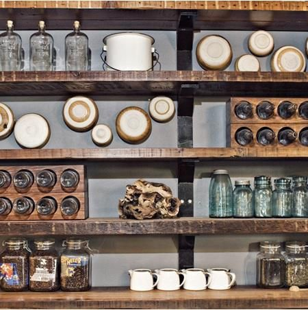 reclaimed wood shelves Kitchen Dining Room