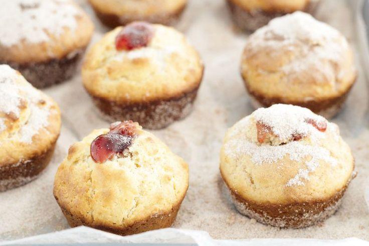 Doughnut muffins with strawberry jam http://www.taste.com.au/recipes ...