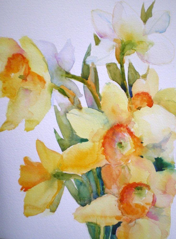 Daffodil watercolor | Watercolor Flowers | Pinterest