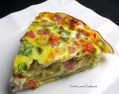 ... the Love of Cooking » Green Chile and Ham Quiche with a Potato Crust