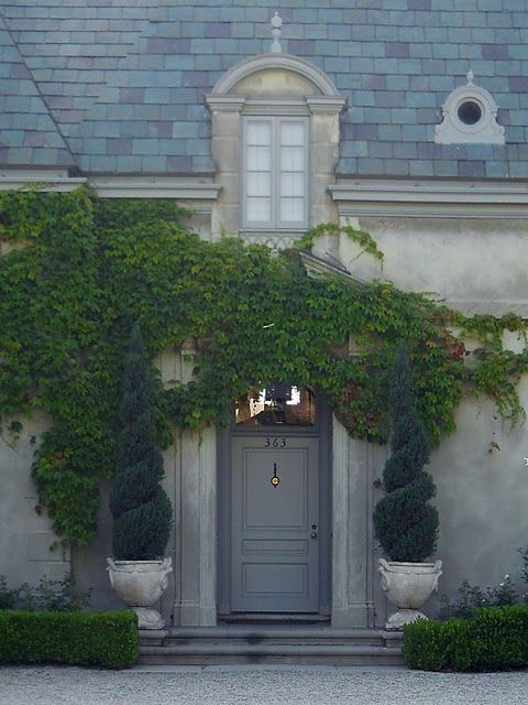 Grey front door shade darker than the shutters house for French country doors