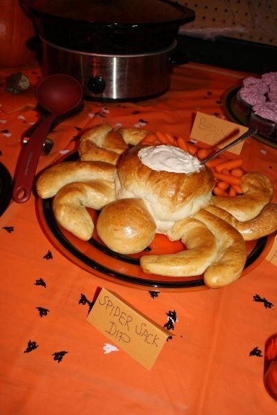Spider Bread Bowl http://www.justapinch.com/recipes/bread/savory-bread ...