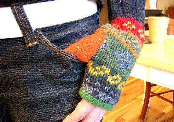 More like this: fingerless mittens , old sweater and knitting .