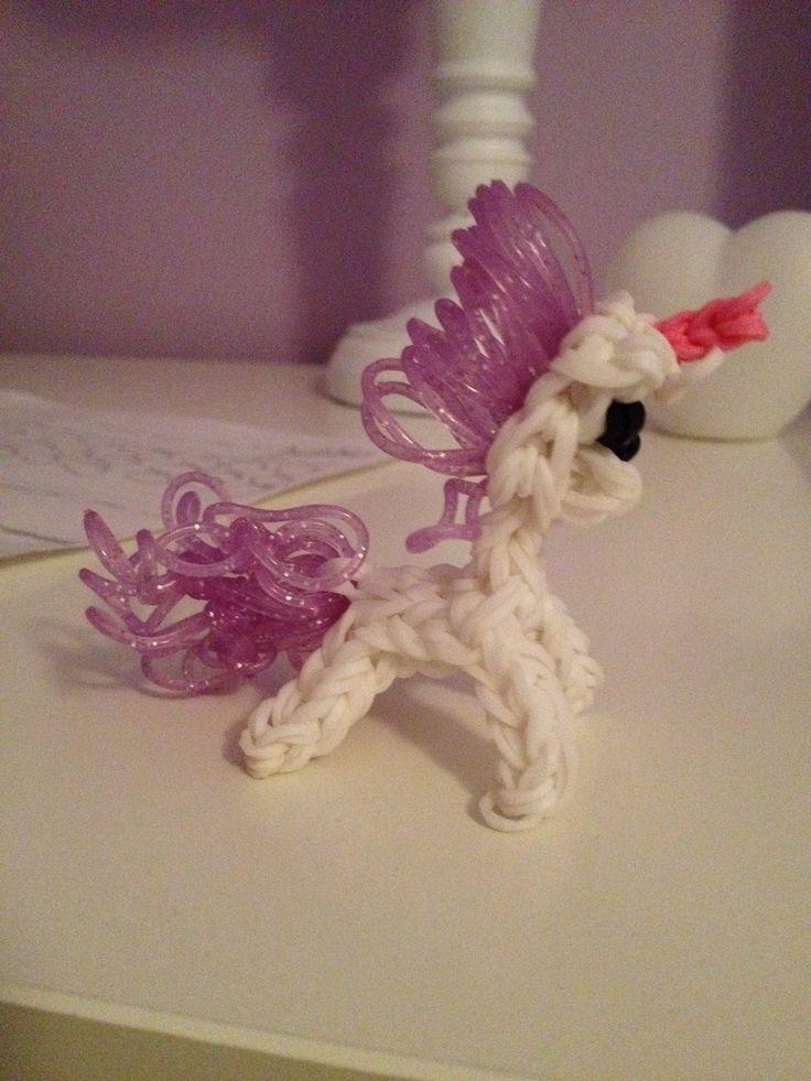 Rainbow Loom Amigurumi Unicorn : Unicorn. Rainbow loom charm For my Daughter Pinterest