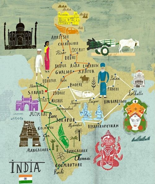 hiscinnamongirl:    Another cute map of India