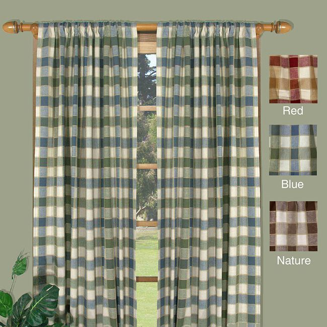 Set includes: Two curtain panels Pattern: Plaid Color options: Red ...