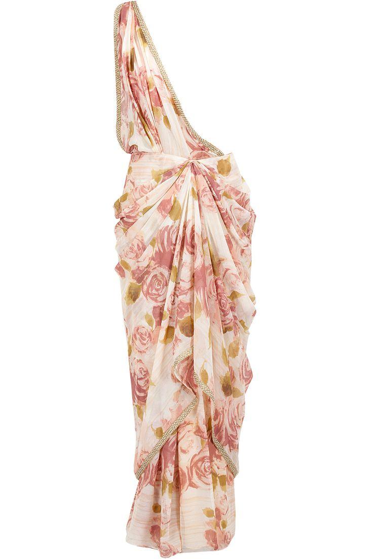 Jardin blush draped sari available only at Pernia's Pop-Up Shop.