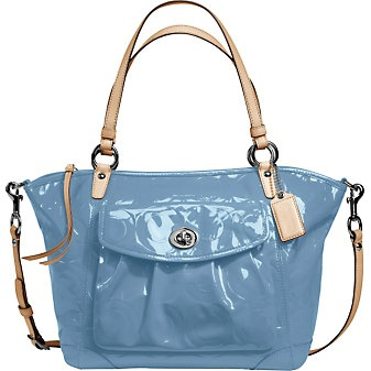 Coach blazing baby blue patent leather tote bag