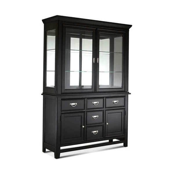 Distressed Black Buffet With Hutch