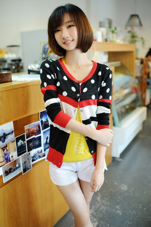 Wholesale Modern & Trendy Mixed Colors Dot Round-neck Single-breasted ...