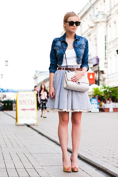 jeans jacket with lovely skirt