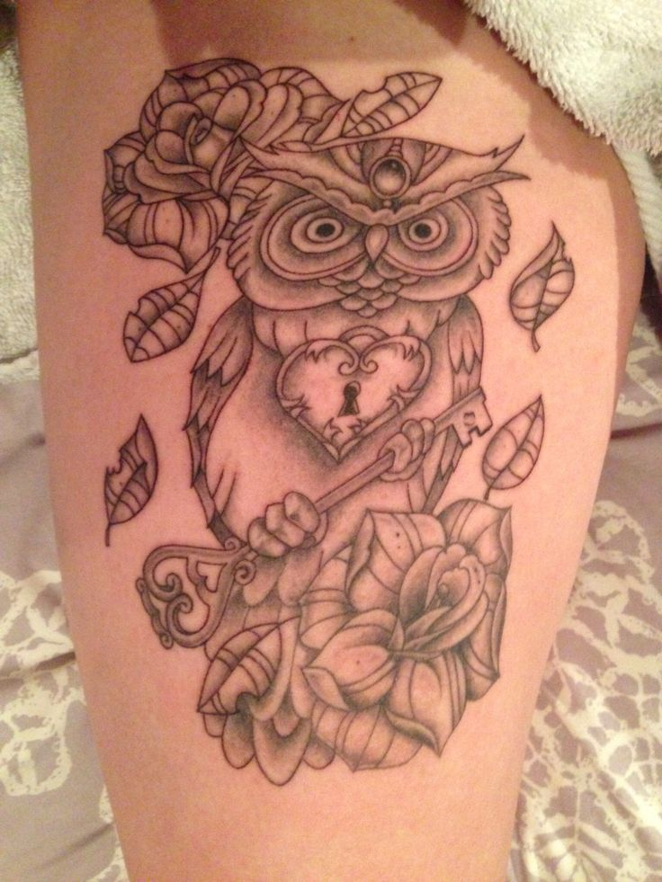 Owl Tattoo Thigh
