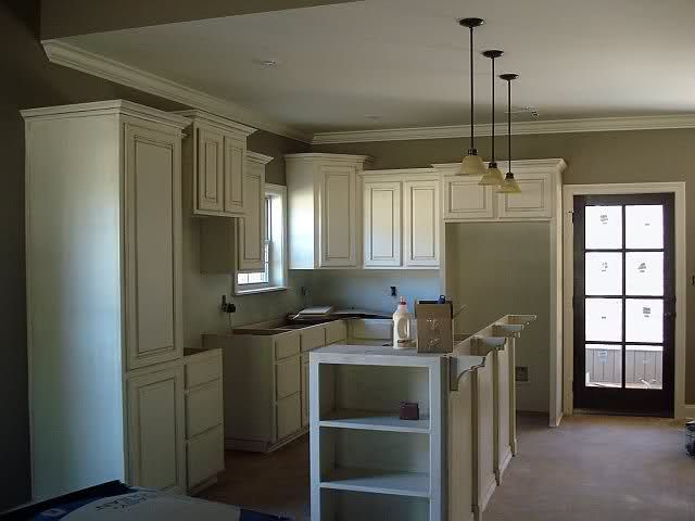 Staggered upper cabinet heights for the home pinterest for Kitchen design upper cabinet height