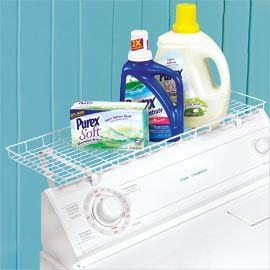 Laundry Shelf - I need to look into these, might also keep things from falling behind when B piles things on top