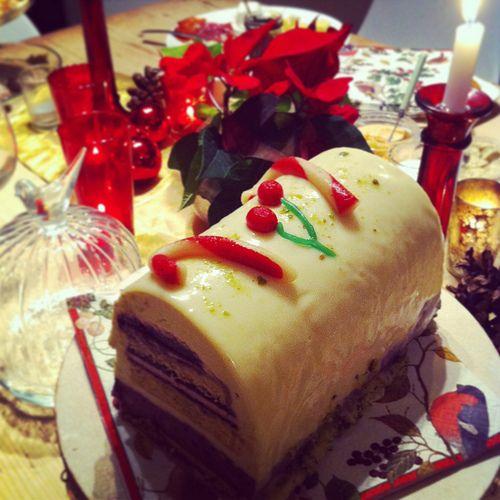 white chocolate, cherry & pistachio Bûche de Noël - Pure heaven