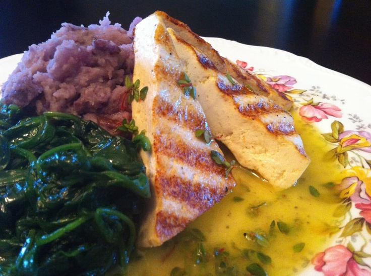 ... #13: Lemon-Thyme Grilled Tofu with Purple Mashed Potatoes & Spinach